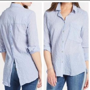 Free People No Limits Striped Button Back Shirt
